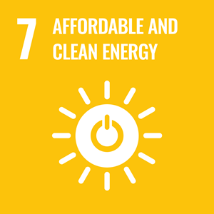 SDG #7 icon: Affordable and clean energy. White on yellow background.