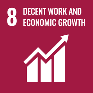 SDG #8 icon: Decent work and economic growth. White on burgundy background.
