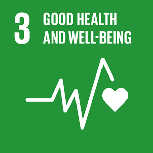 SDG #6 icon: Good health and well-being. White on green background.
