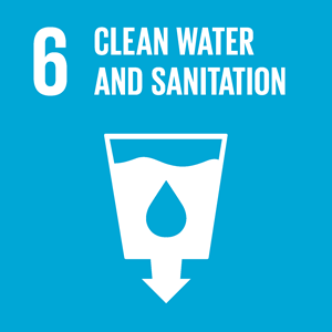 SDG #6 icon: Clean water and sanitation. White on blue background.