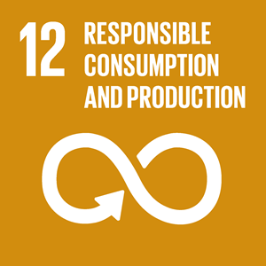 SDG 12 icon: Responsible consumption and production. White on ochre background.