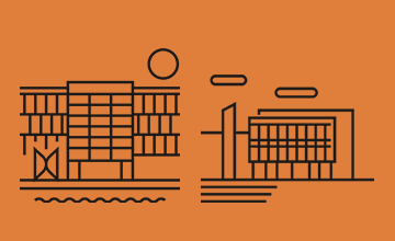 Iconic image of Alsion building and SDU Odense building on orange background