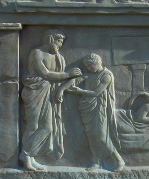 Archinos' helbredelse. Græsk relief, 400-350 f.Kr.