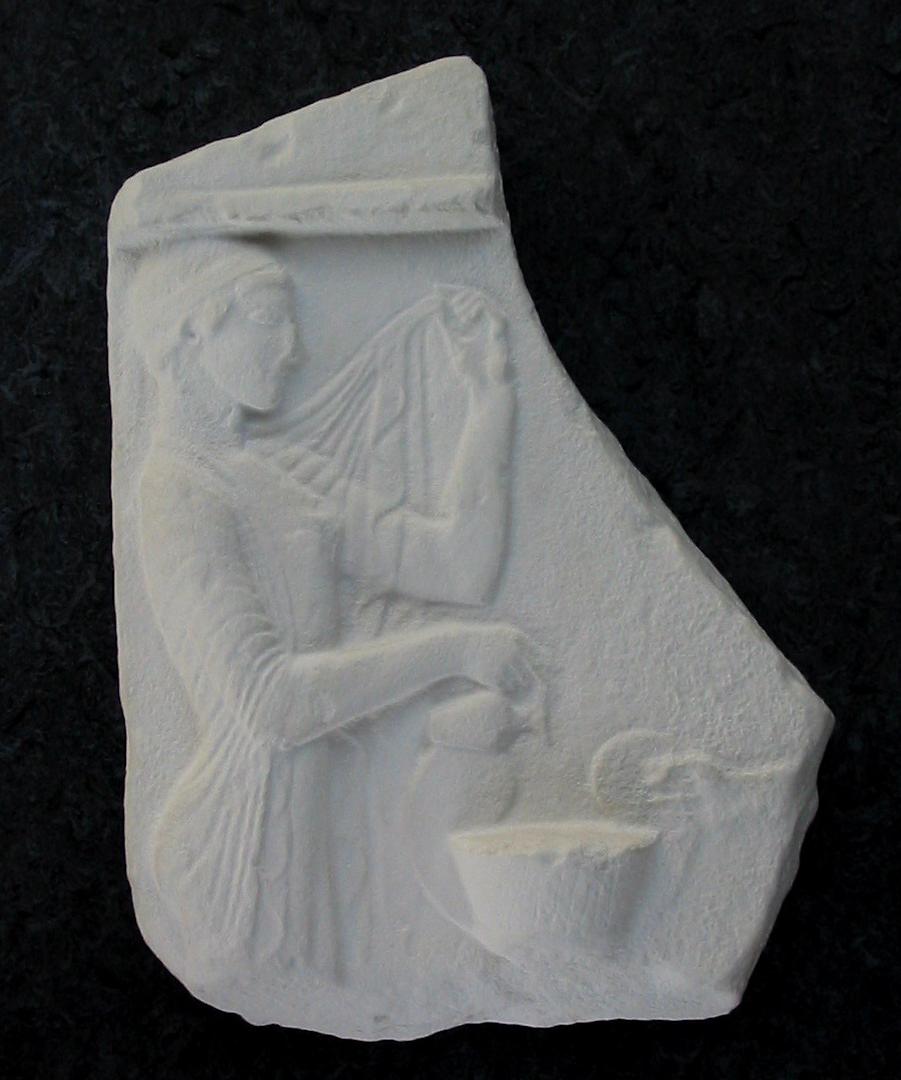 Drikoffer ved graven. Græsk, første del af 400-tallet f.Kr.