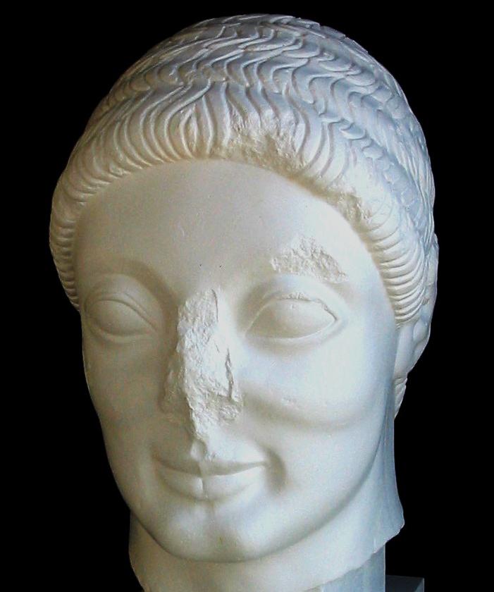 Hovede af ung mand (kouros), det såkaldte Rayethovede. Græsk, ca. 520 f.Kr.