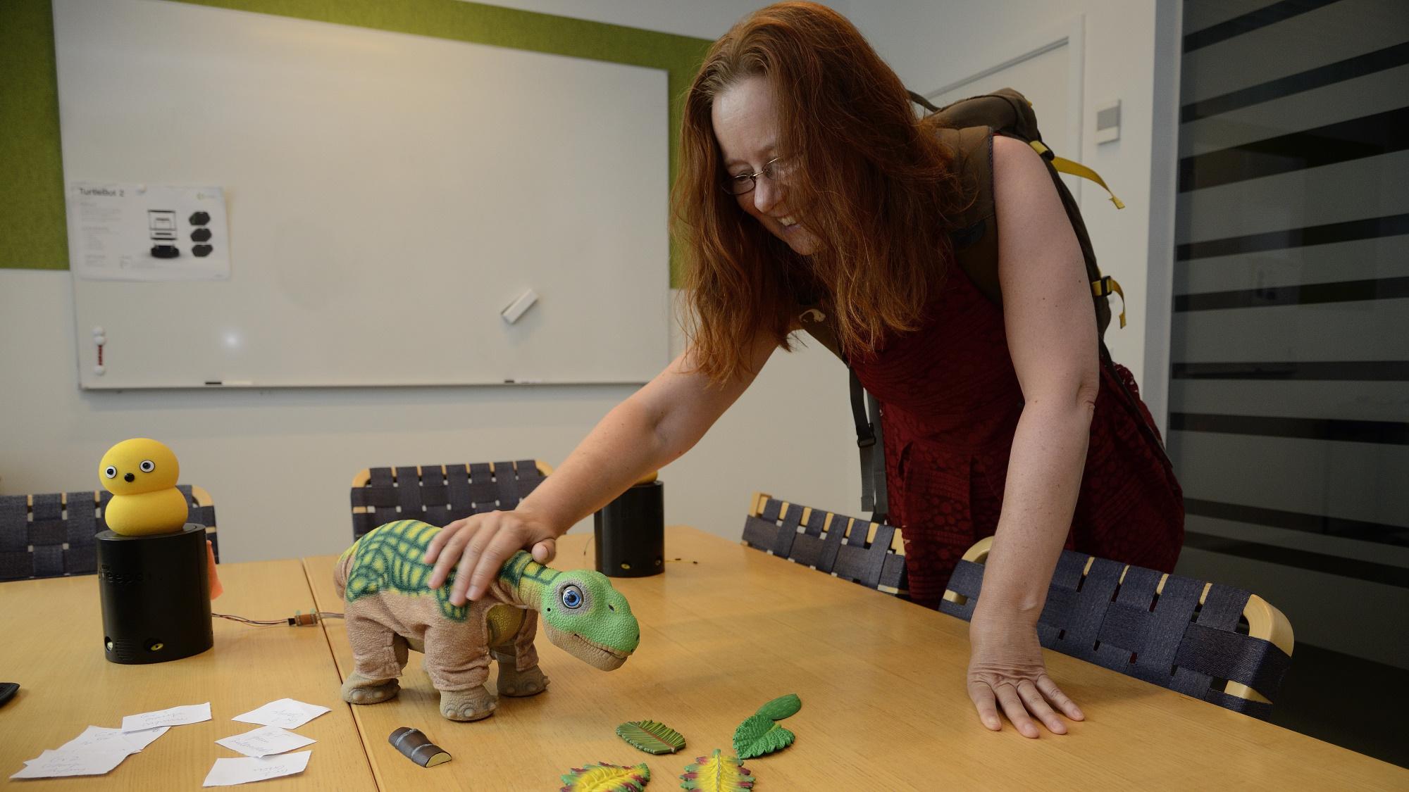 A Pleo robot who enjoys human affection.