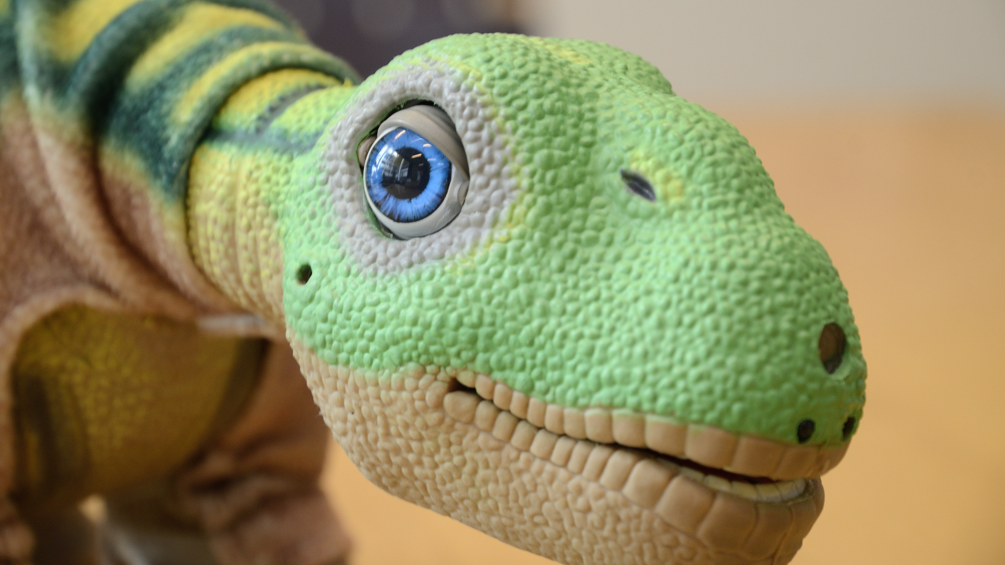 A Pleo robot has large, expressive and movable eyes.