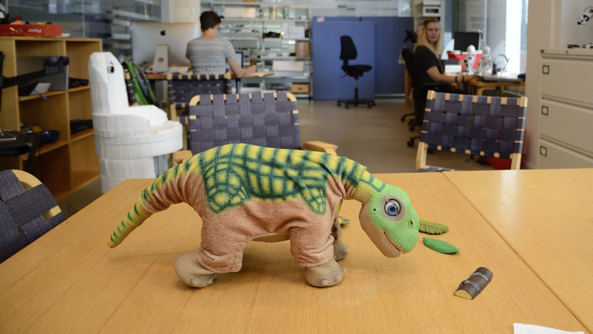 A Pleo robot craving for attention.