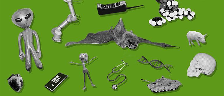Grafikken viser en grøn baggrund med forskellige sort-hvid billeder ind over, som viser nogle af de ting, man kan opleve på Forskningens Døgn.