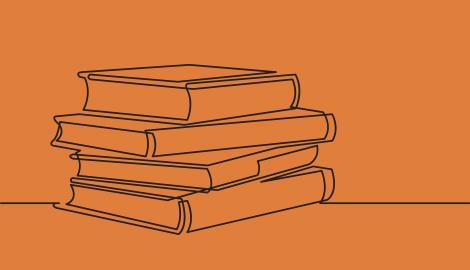 Stregtegning af en stak bøger