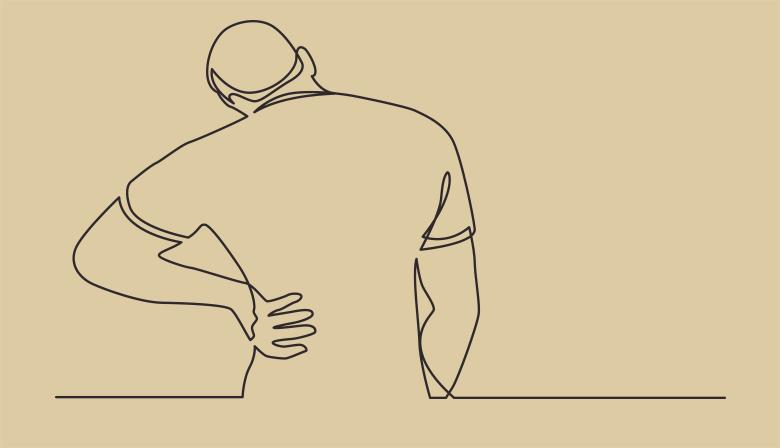 Stregtegning af mand med ondt i ryggen.