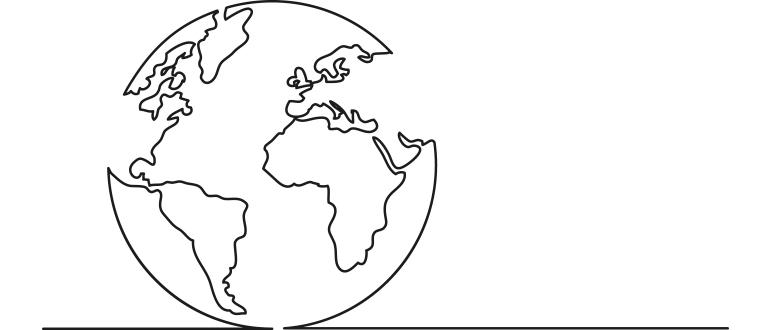 Stregtegning af en jordklode.