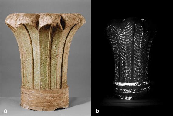 Søjler hvorfra prøverne på de antikke pigmenter er indsamlet.