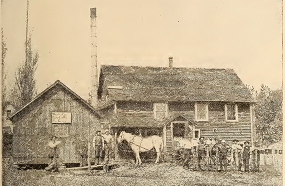 Gammelt fotografi af Slifsgaard mejeri, fredsville, Iowa.