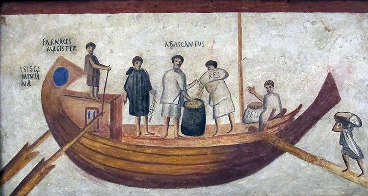 Kalkmaleri af romere ombord på en båd.