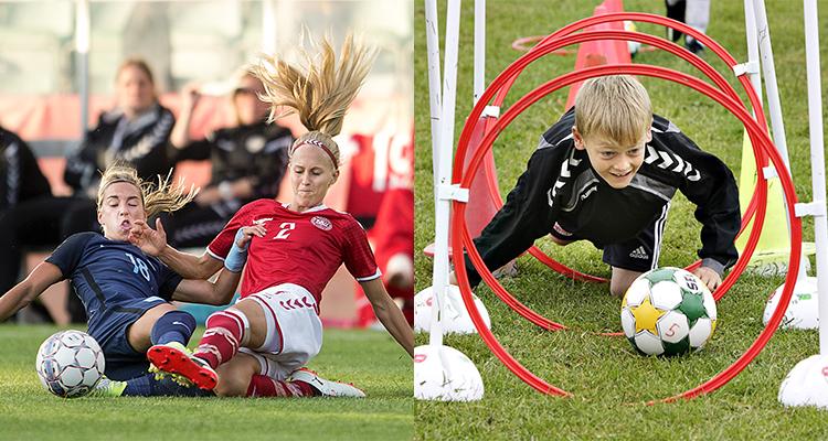 Billedet viser to kvindelige fodboldspillere i en takling og en ung dreng, der træner fodbold.
