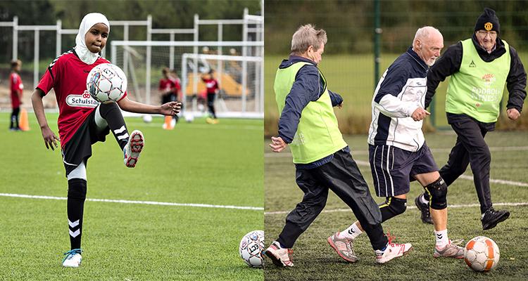 Billedet viser en unge pige med tørklæde, der træner fodbold og tre ældre mænd, der spiller fodboldkamp.