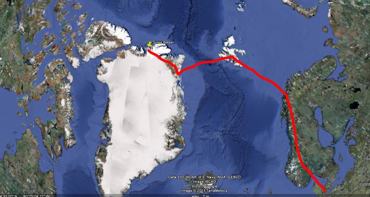 Billedet viser et kort over Siriuspasset