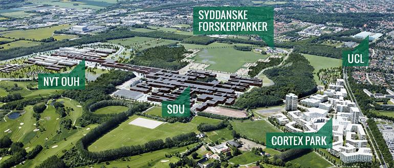 Kort med navne over Campus Odense