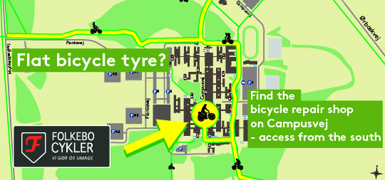 The image shows what bicycle path leads to the bicycle repair shop.