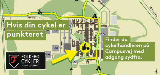 Grafikken viser, hvordan du finder cykelhandleren.