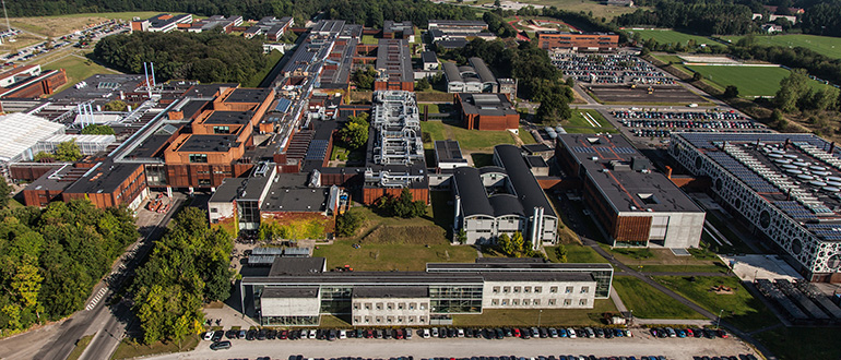 Aerial photo of SDU Odense campus