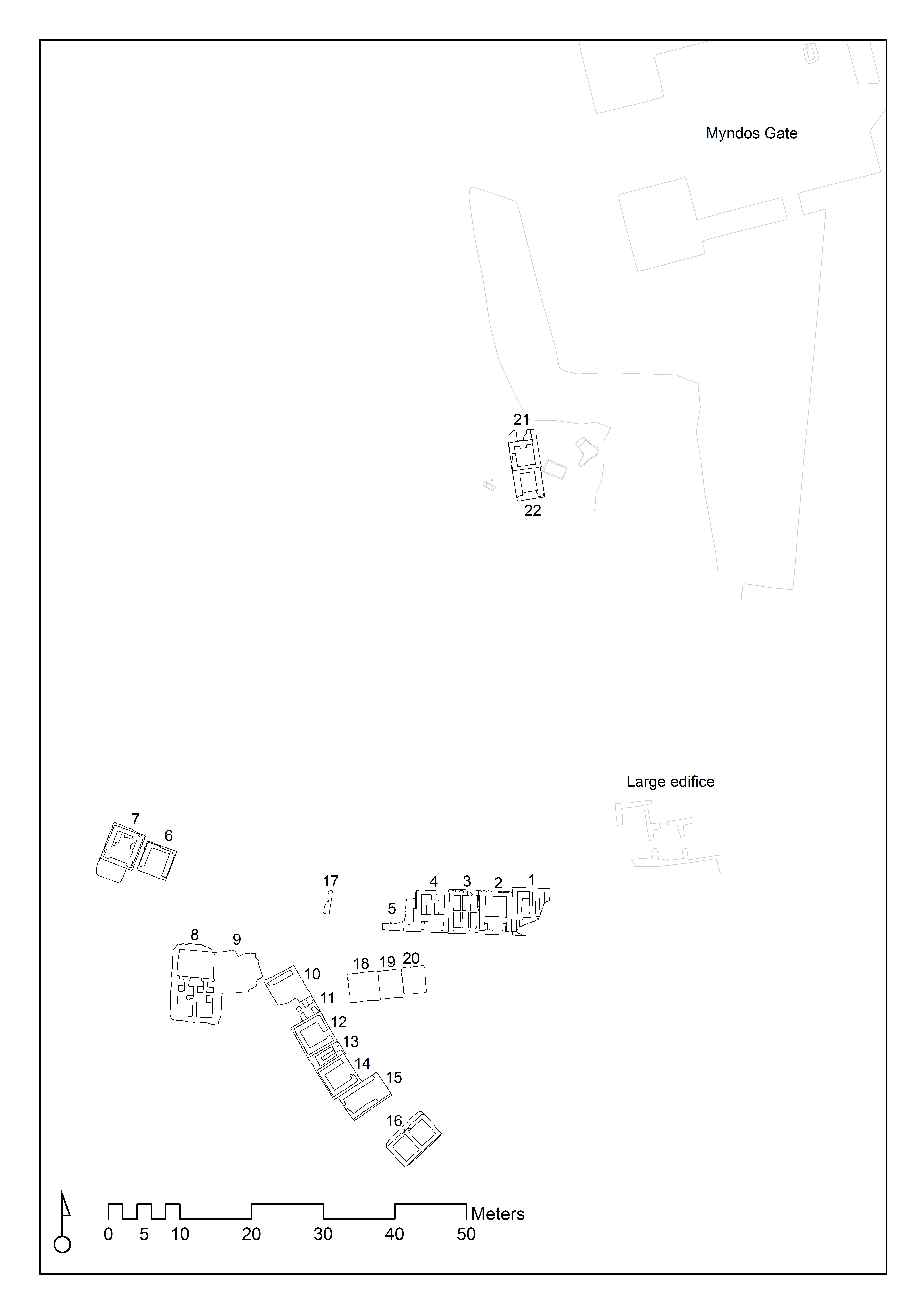 Fig. 2. Plan necropolis (N. Bargfeldt & E. Mortensen)