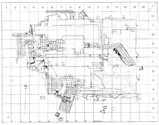 Fig. 3. Plan of the foundation-cutting, the Quadrangle (from the Maussolleion at Halikarnassos vol. 4, fig. 1, 57)