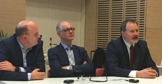 De tre nye kliniske professorer: Mikkel Brabrand, Christian Backer Mogensen og Søren Mikkelsen