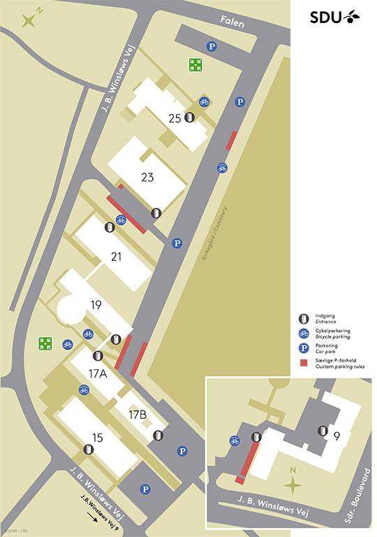 Grafisk kort over cykelparkering på J B Winsløws Vej
