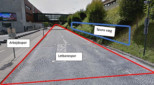 Billedet viser de dele af Campusvej, som påvirkes af letbanearbejdet