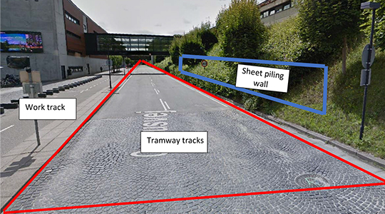 The image shows which areas of Campusvej will be affected by the tramway construction work.