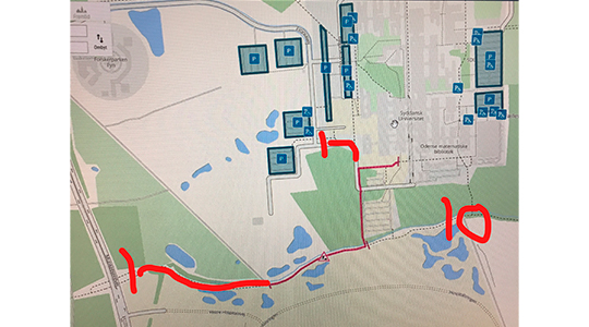 Markeringer på kort, der viser de nye afspærringer på cykelstien ved Killerup rende.
